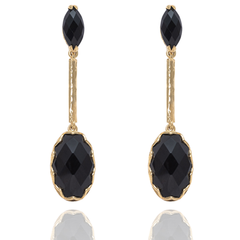India Affair Obsidian Drop Earrings Gold