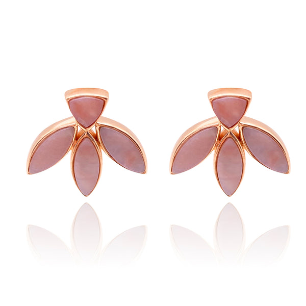 Floral Escape Pink Opal Stud Earrings