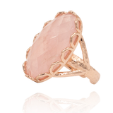 India Affair Rose Quartz Cocktail Ring Rose Gold