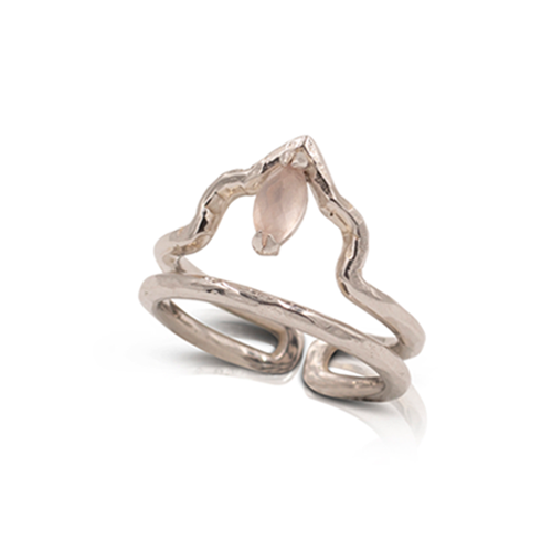 India Affair Rose Quartz Midi Ring Silver