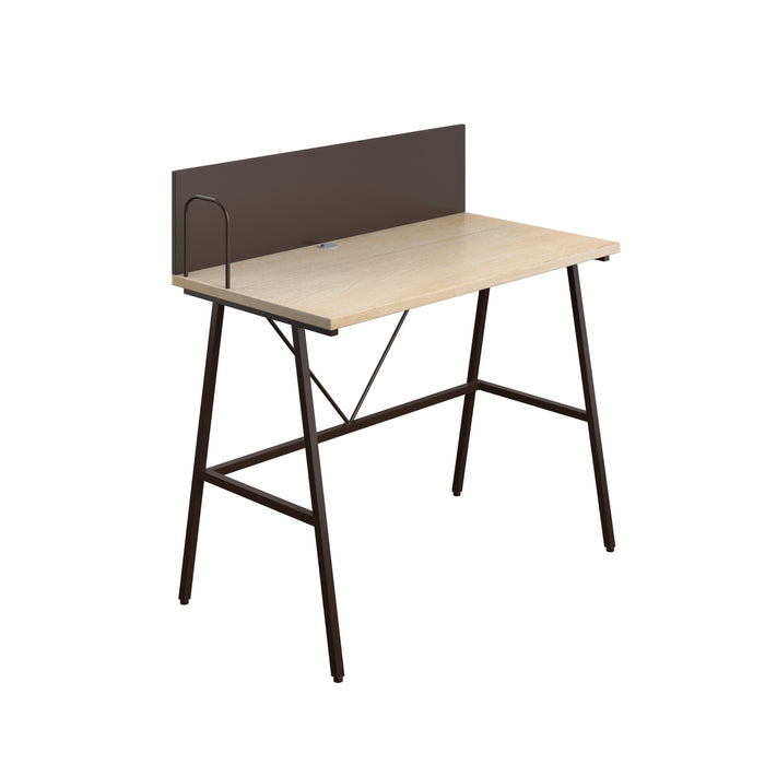 SOHO Home Working A-Frame Desk with Backboard - Oak / Dark Brown