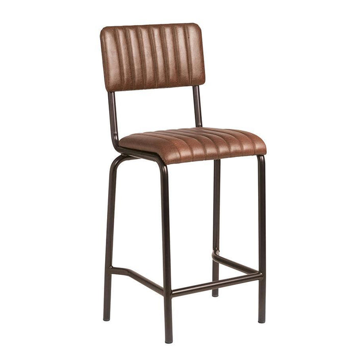 Core Mid Bar Stool - Ribbed Lascari - Vintage Brown