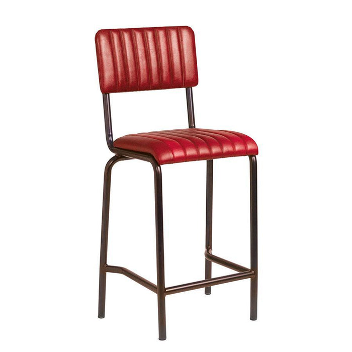 Core Mid Bar Stool - Ribbed Lascari - Vintage Red