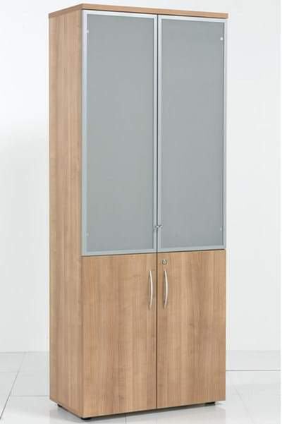 E Space High Cabinet Wood and Glass doors