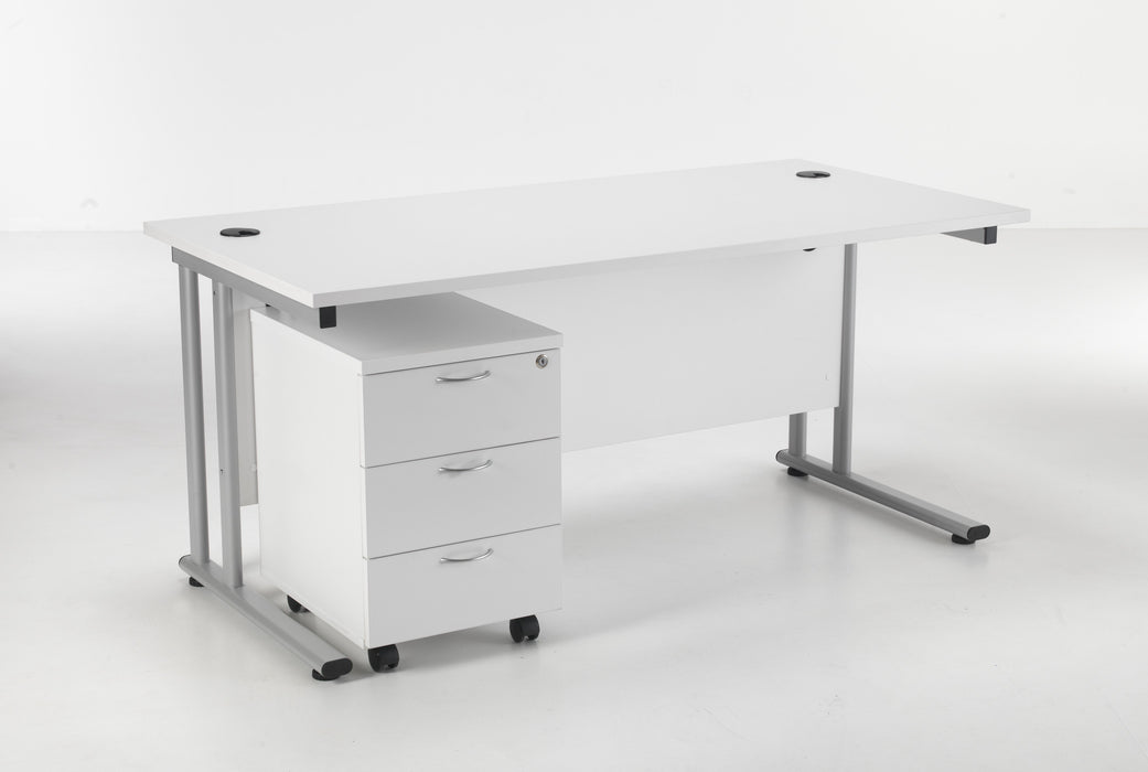 Start Next Day Delivery Cantilever Desk & Two Drawer Pedestal Bundle