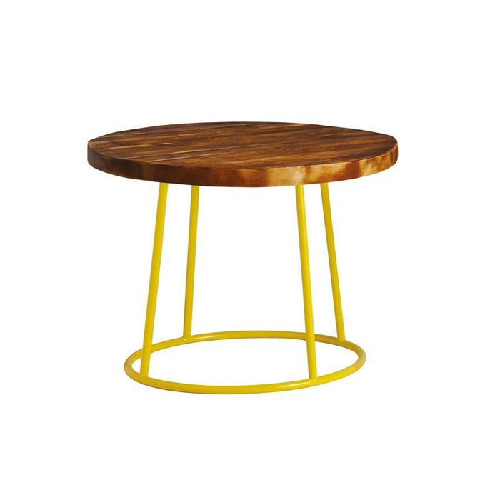 Max Coffee Table - Yellow Base -Rustic Solid Wood Top 600Dia