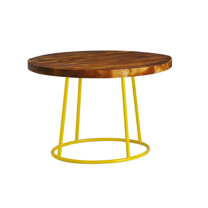 Max Coffee Table - Yellow Base -Rustic Solid Wood Top 750Dia