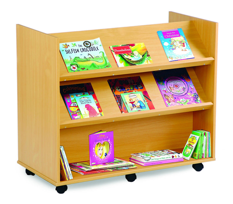 Double sided Library Unit with 2 angled shelves and 1 horizontal shelf