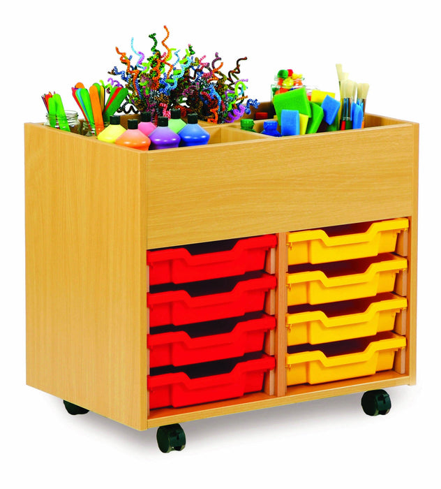 4 bay art kinderbox unit with trays