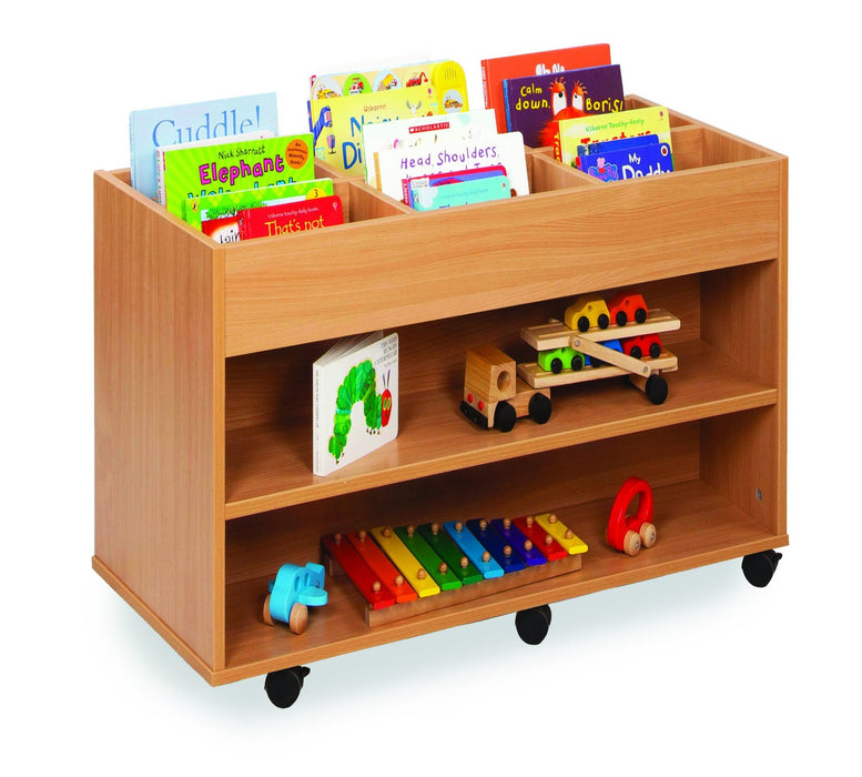 Double sided 6 bay Kinderbox unit with fixed shelf
