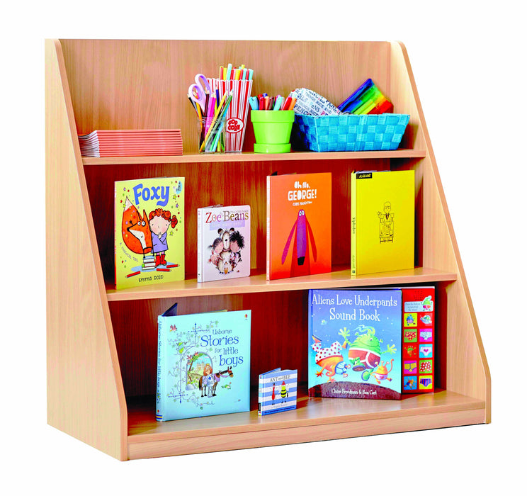 Library Unit with 3 tiered shelves at varying depths
