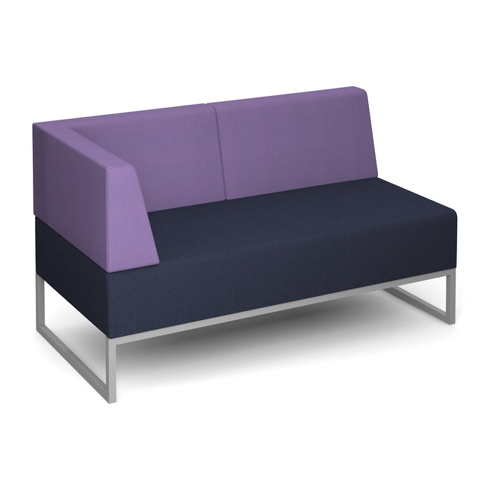 Nera Modular Soft Seating Double Bench With Back Right Arm