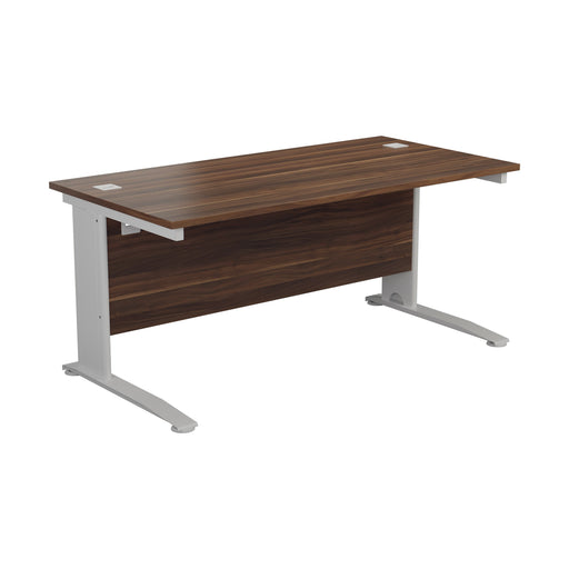 One Cable Cantilever Office Desk - 800mm Deep Walnut/White