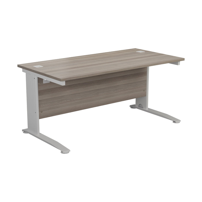 One Cable Cantilever Office Desk - 800mm Deep White/Silver