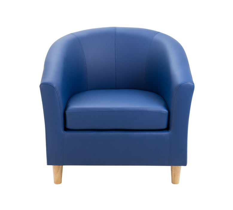 Vibrant Tub Armchair Wooden Feet - Dark Blue