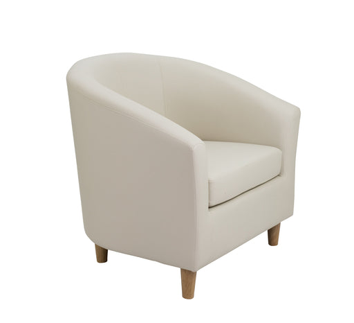 Vibrant Tub Armchair Wooden Feet - Cream