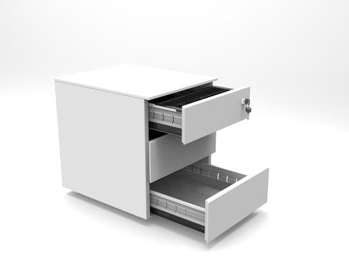 CUBE Steel Low Pedestal 3 Drawer
