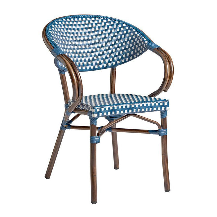 Panda Arm Chair - White & Blue Weave