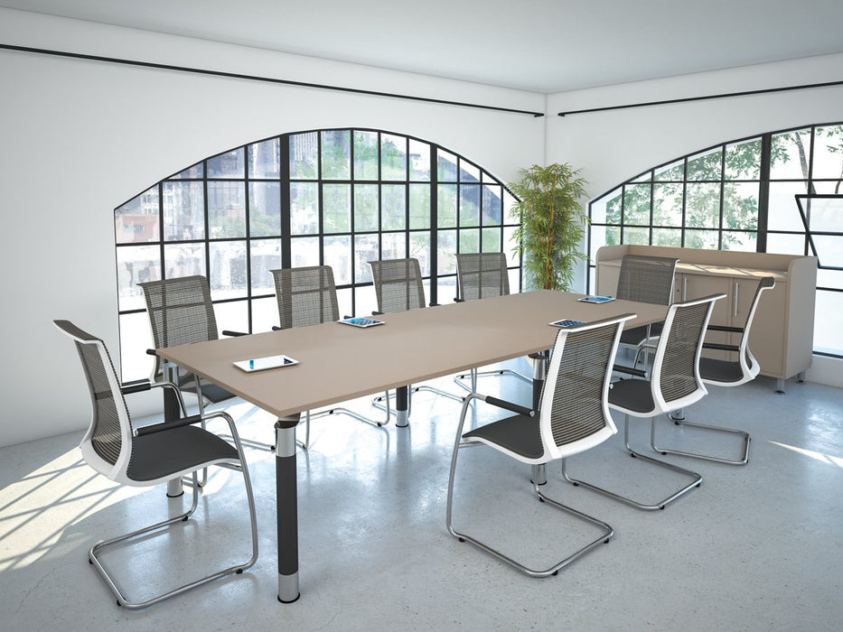 Kingston Metal Leg Rectangular Boardroom Table With Glass Upstand