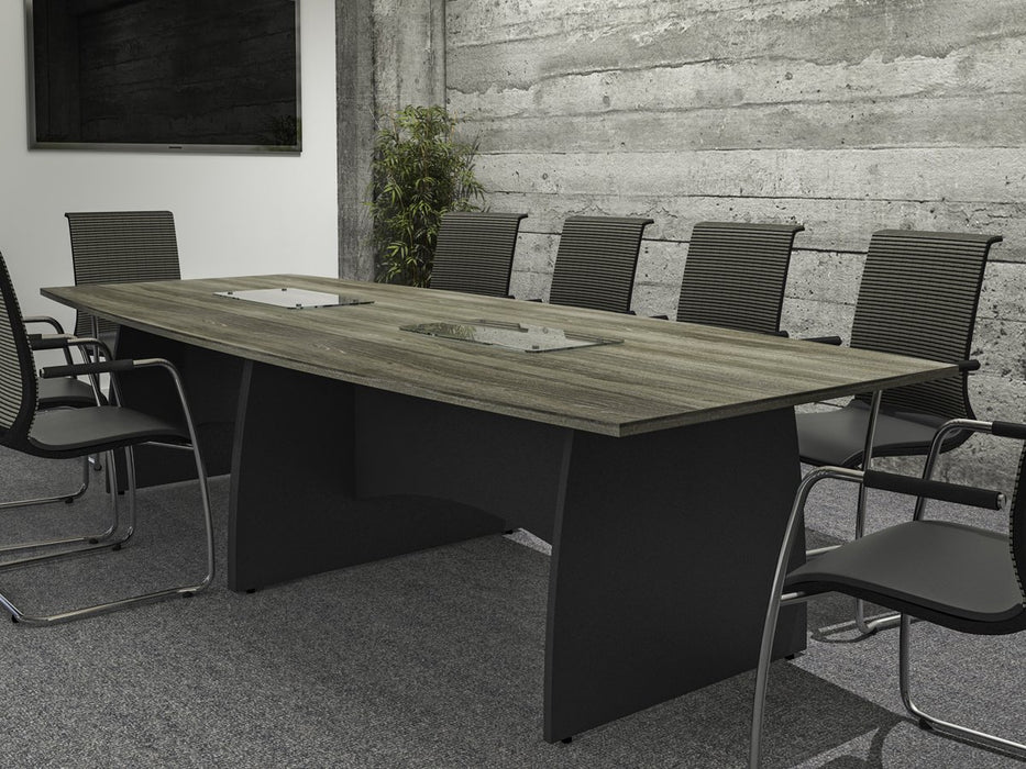 Kingston Panel Leg Rectangular Boardroom Table With Glass Upstand