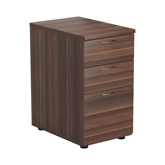 LOCO Desk High 3 Drawer Pedestal - 600mm Deep - Walnut