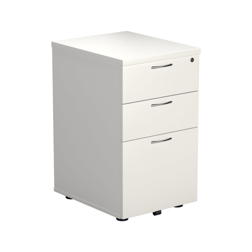 Wooden 3 Drawer Under Desk Pedestal - White