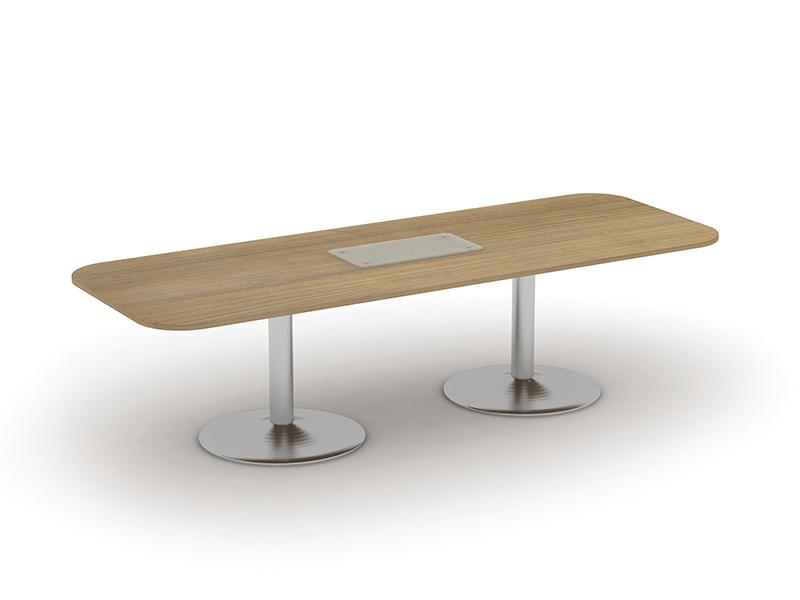 Kingston Tulip Leg Rectangular Boardroom Table With Glass Upstand