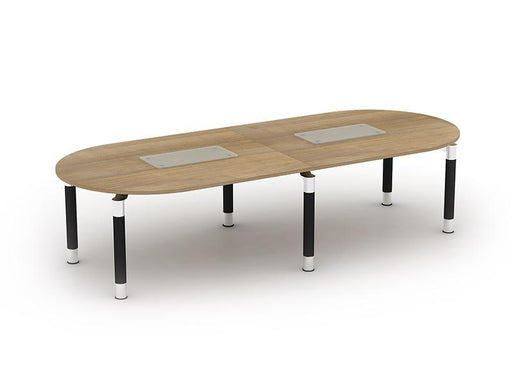 Kingston D End Boardroom Tables With Metal Legs and Glass Upstand
