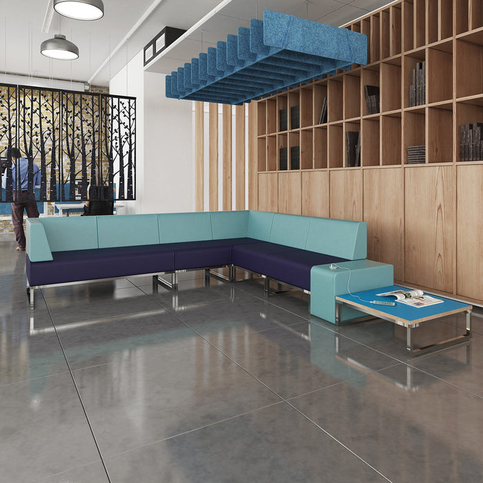 Nera Modular Soft Seating Double Bench With Back and Left Arm
