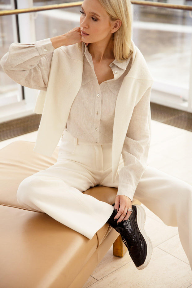 Buy online sustainable Tops from Finland - MIAM Oversize Linen Shirt 6