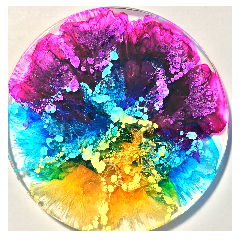 alcohol ink in resin effect. Image sourced from https://korinnecarpinoart.com/alcohol-ink-resin-coasters/#.YEgO_5MzZp9