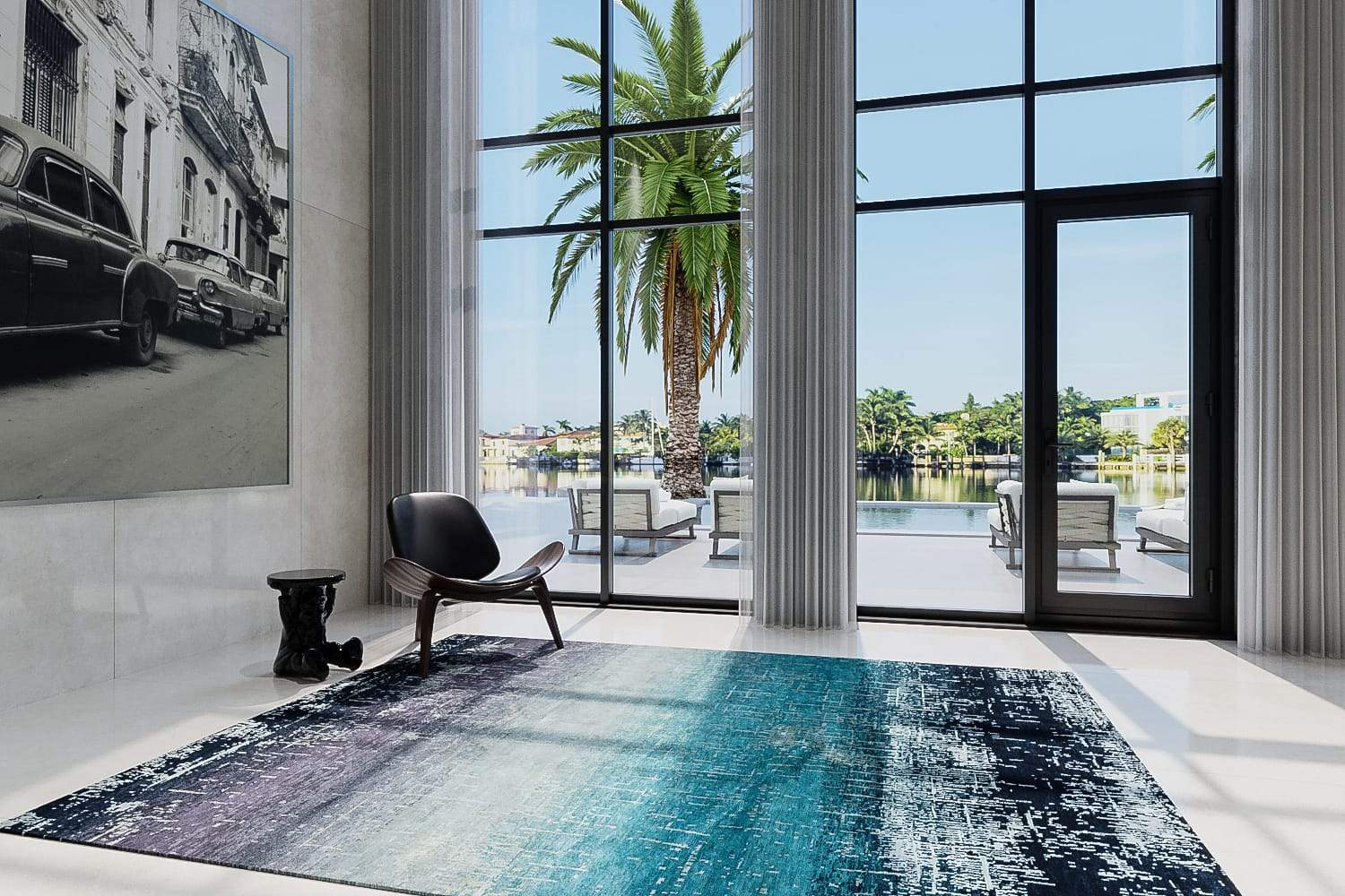 installation image of AVENTINE BLUE, a hand knotted rug designed by Tufenkian Artisan Carpets. room-image