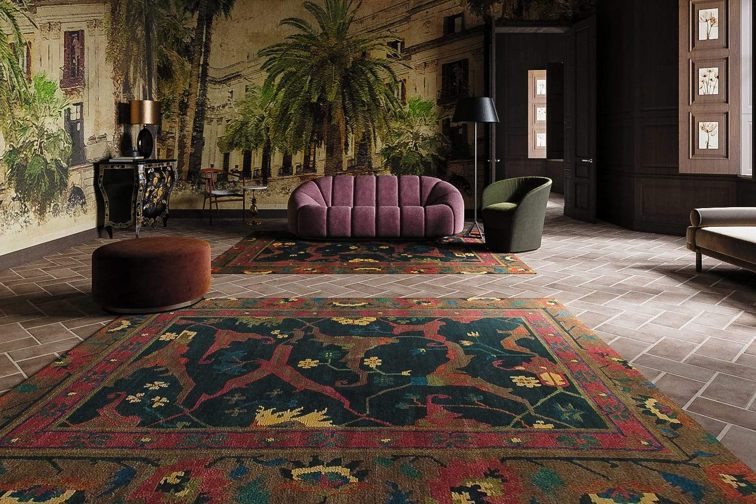 Installation image of Bidjar Spruce, a hand knotted rug designed by Tufenkian room-image