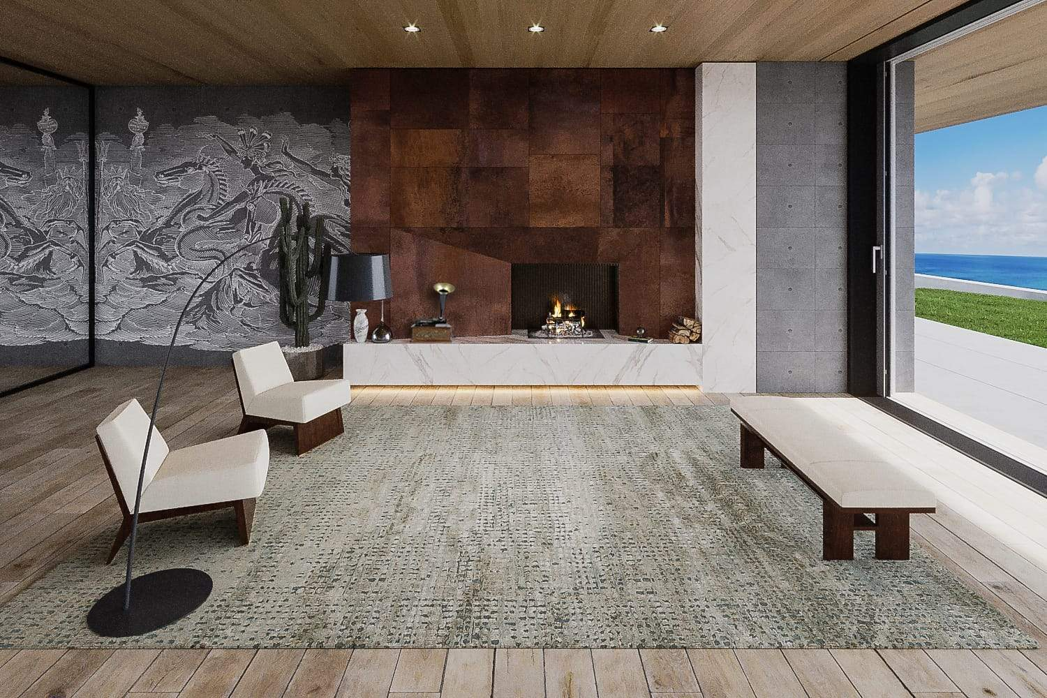 Installation image of Chiapas Ice Taupe, a hand knotted rug designed by Barbara Barry for Tufenkian room-image