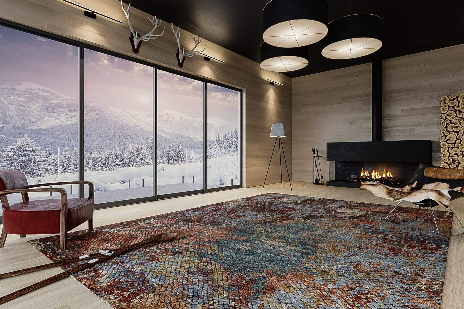 Installation shot of Foundry Copper, a hand knotted rug designed by Tufenkian Artisan Carpets. room-image