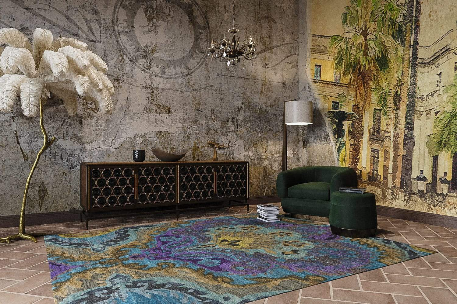 Installation shot of Galatea Turquoise Violet, a hand knotted rug designed by Tufenkian Artisan Carpets. room-image