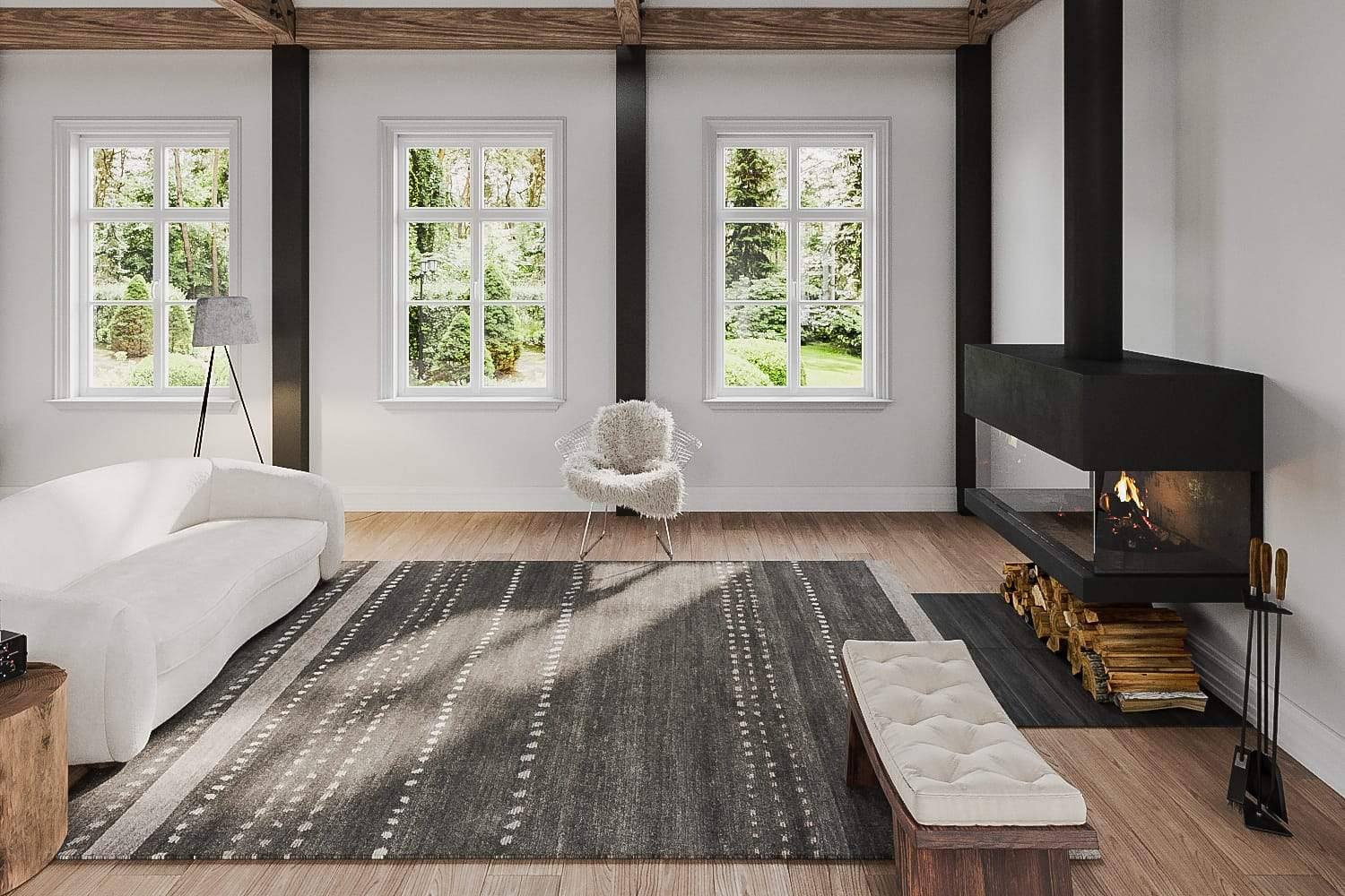 Installation shot of Kaibab II Peppercorn, a hand knotted rug designed by Tufenkian Artisan Carpets. room-image