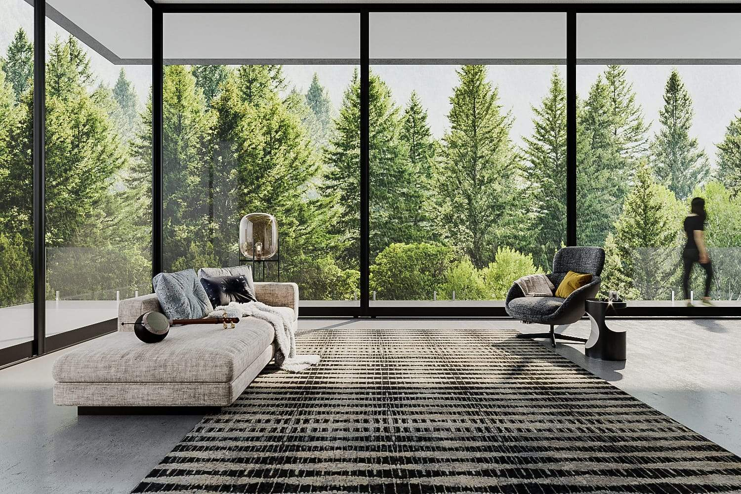 Lifestyle image of Nordic Silver, a hand knotted rug by Tufenkian Artisan Carpets room-image