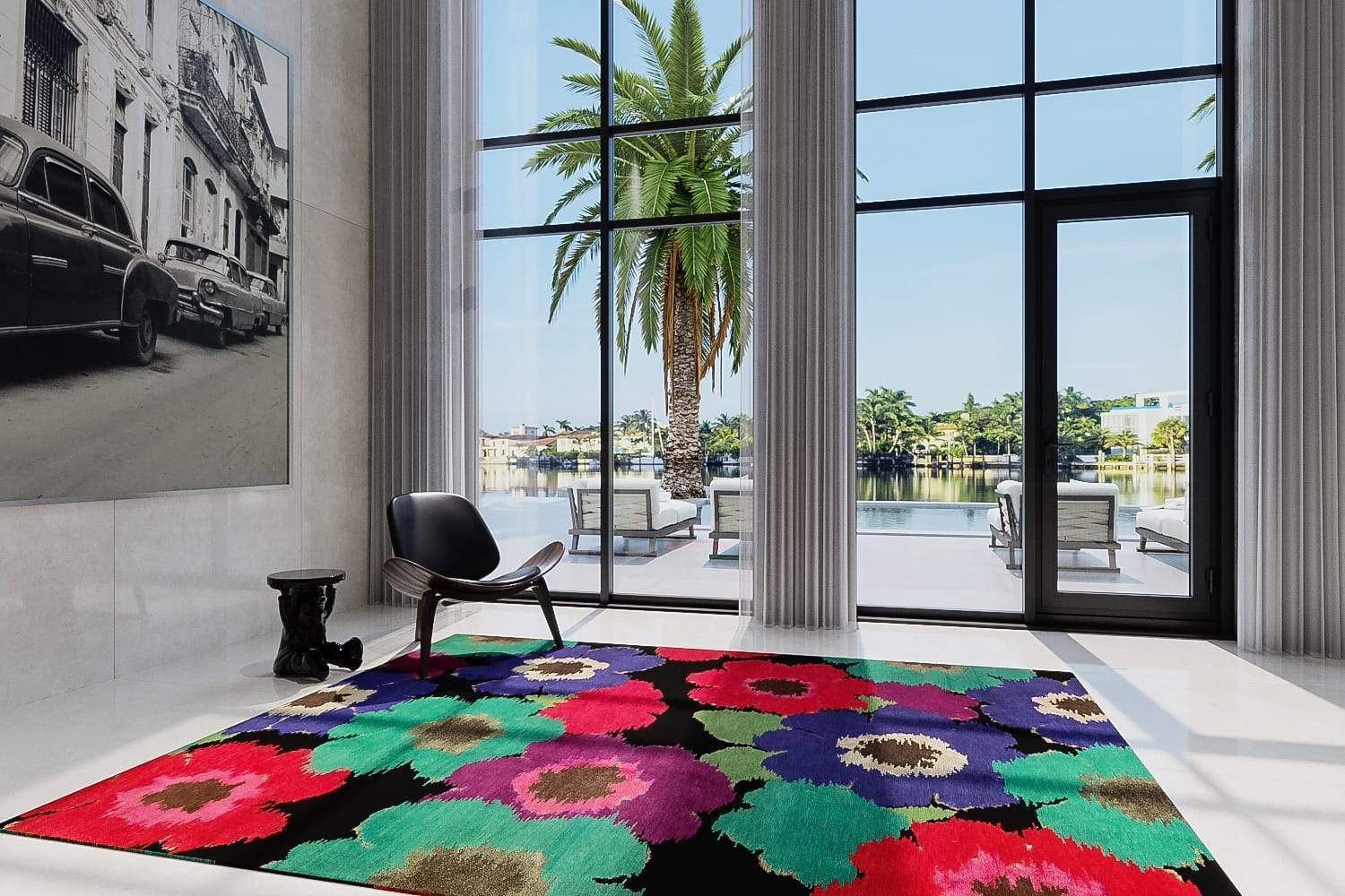Installation shot of Posies Black, a hand knotted rug designed by Tufenkian Artisan Carpets. room-image