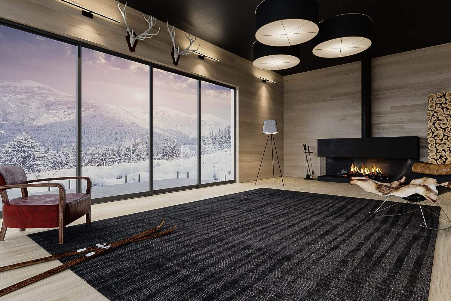 Installation shot of Rays Charcoal, a hand knotted rug designed by Tufenkian Artisan Carpets. room-image