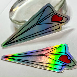 Paper Airplane Holographic Sticker