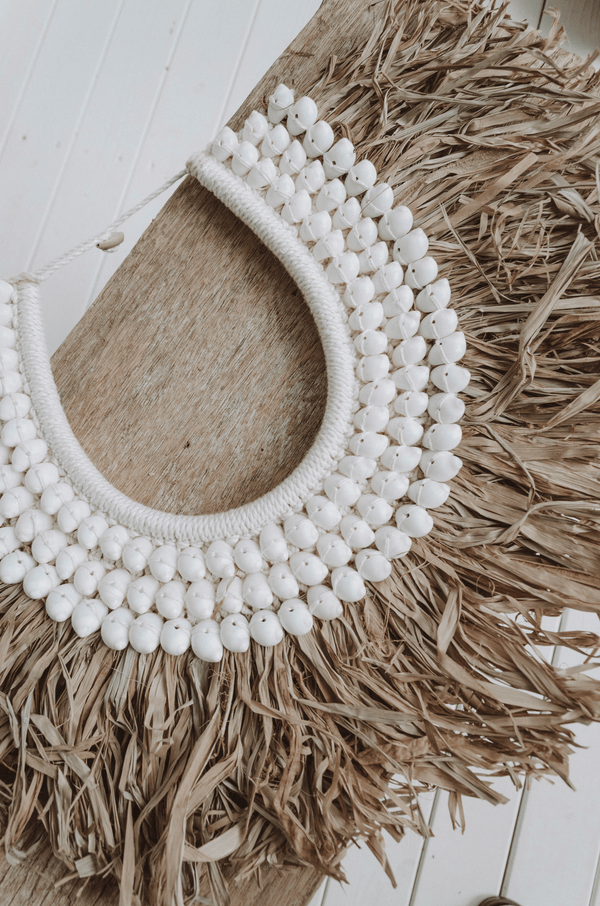 Lyala shell & seagrass papua necklace display with stand