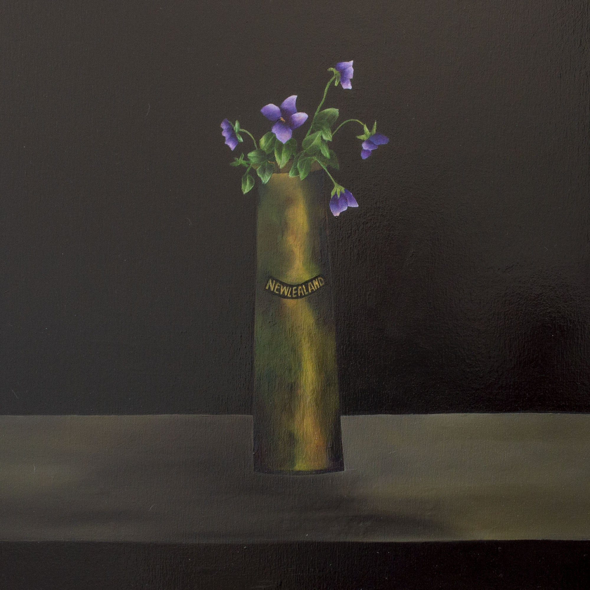 Artillery Shell Vase with Violets