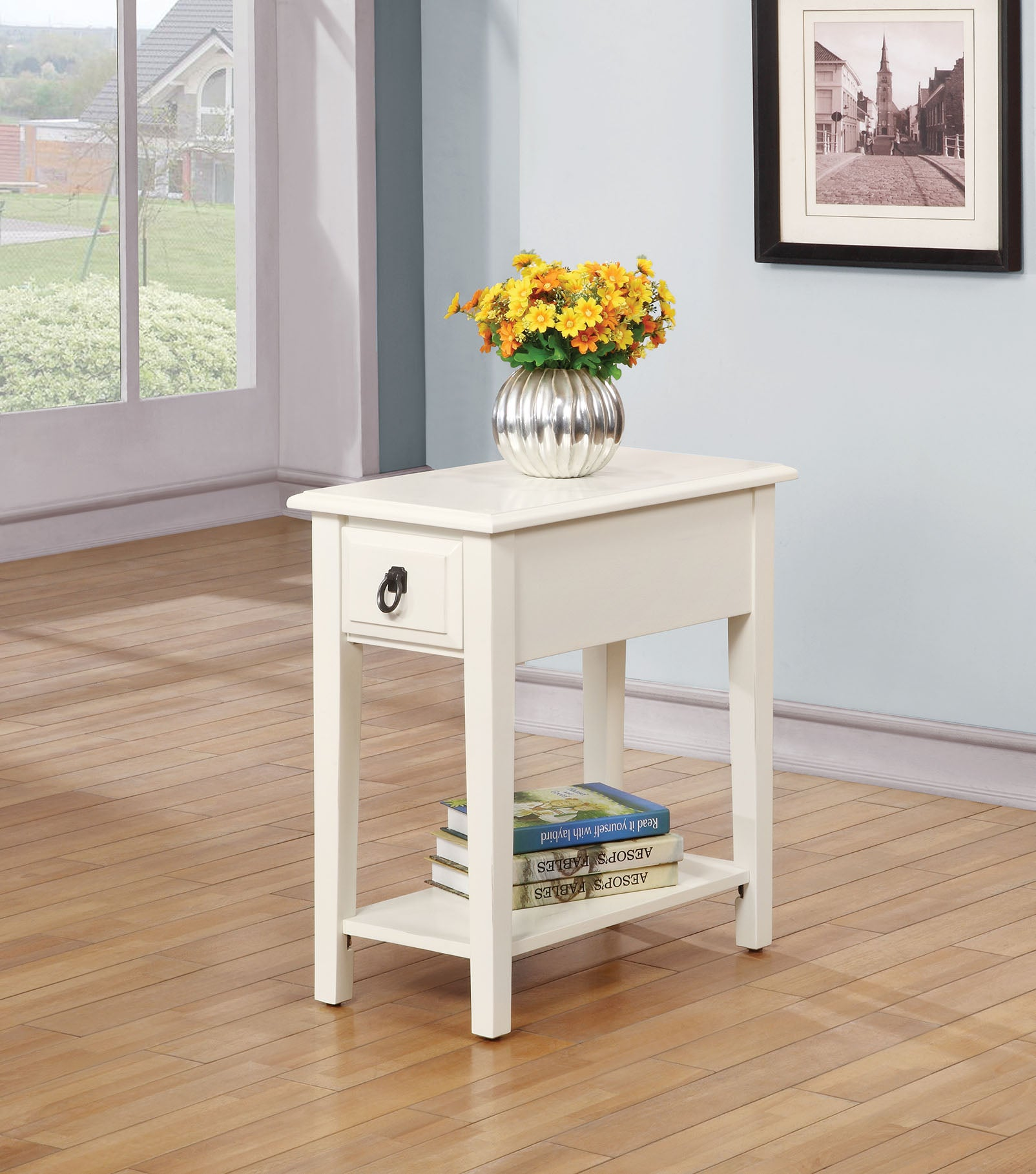 "12"" X 22"" X 23"" White Rubber Wood Side Table"