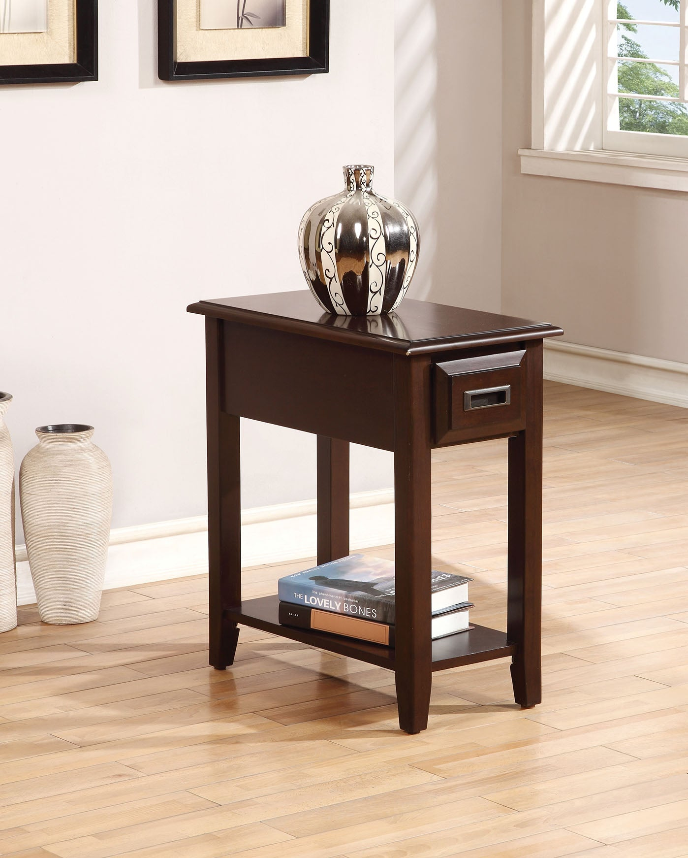 "12"" X 22"" X 23"" Dark Cherry Rubber Wood Side Table"