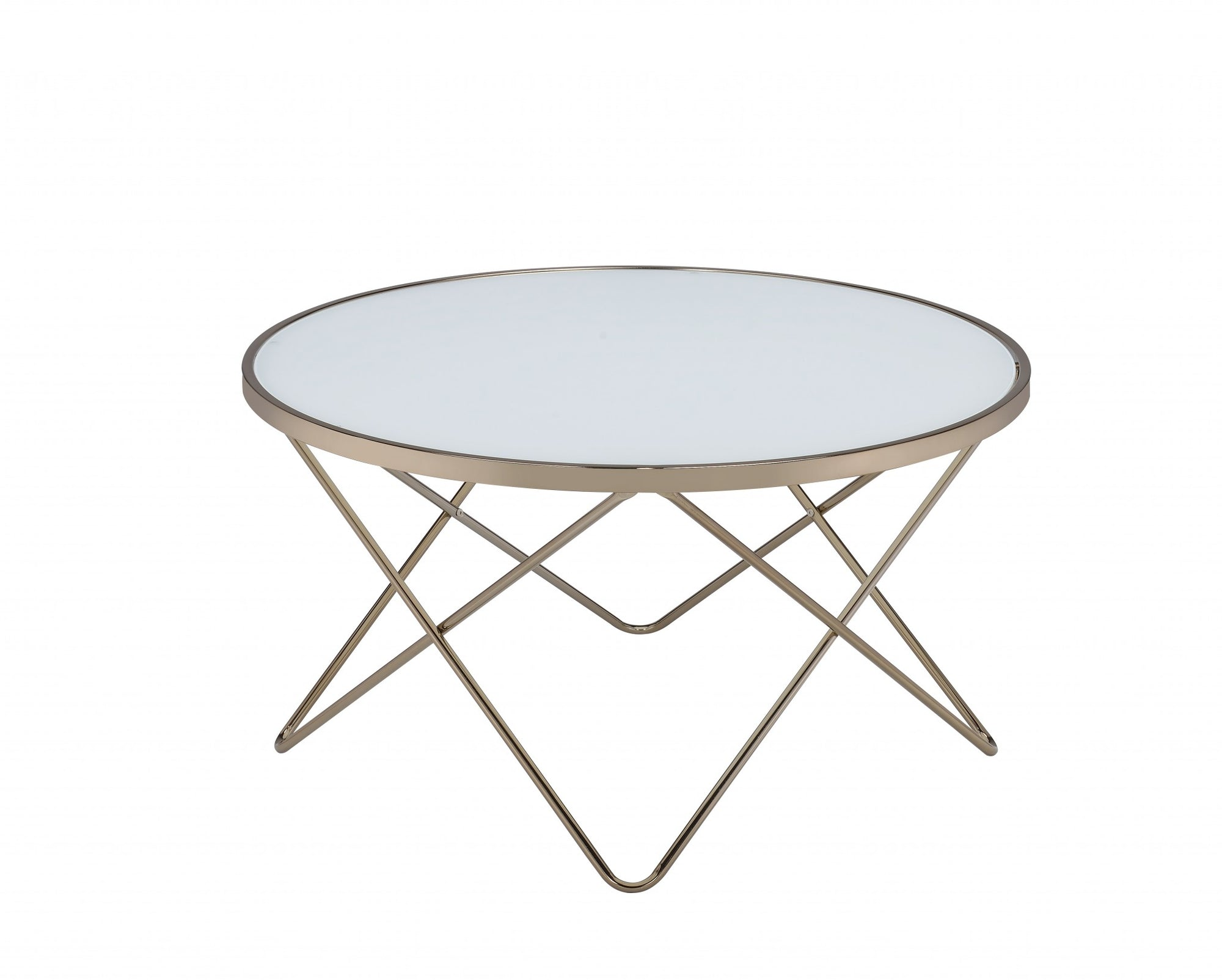 "34"" X 34"" X 18"" Frosted Glass Champagne Coffee Table"
