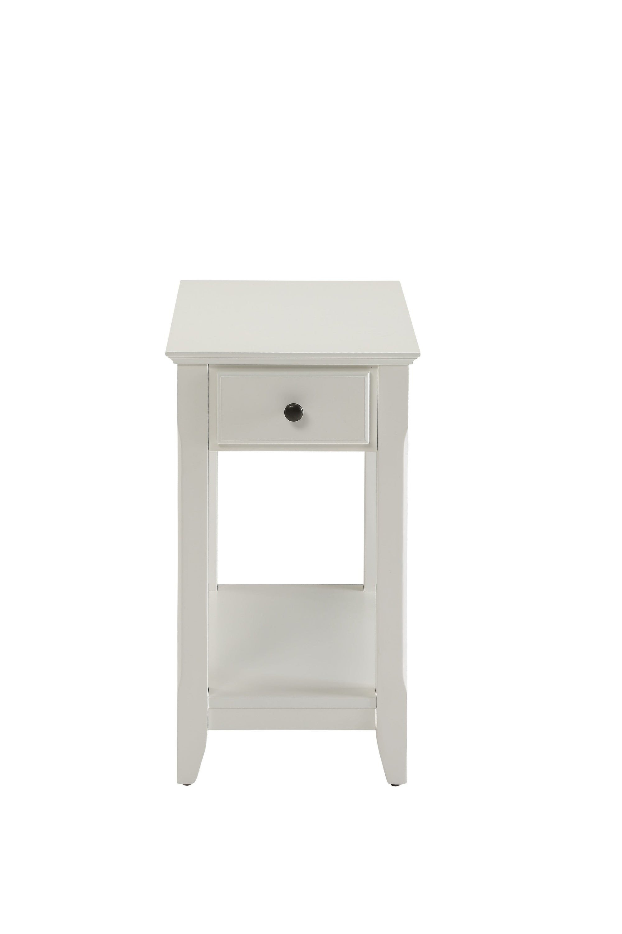 "13"" X 22"" X 23"" White Wood Veneer Side Table"