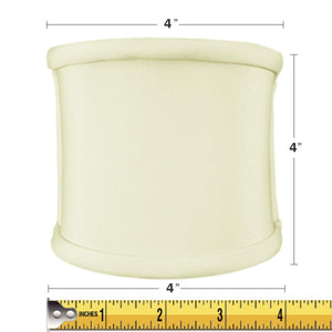 4x4x4 Clip-on Sconce Half-Shell Lampshade Eggshell Shantung Fabric