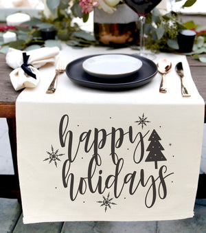 Happy Holidays Canvas Table Runner