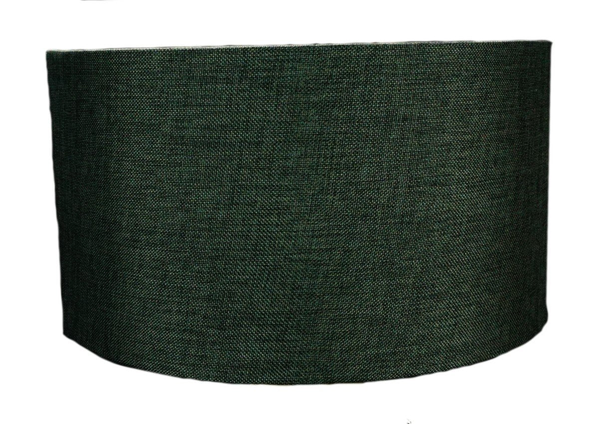 "Granite Grey Burlap Hardback Drum Lampshade 14""x14""x7"""